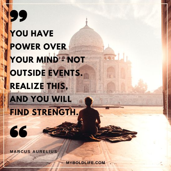 quote about having power over your mind with Taj Majal background
