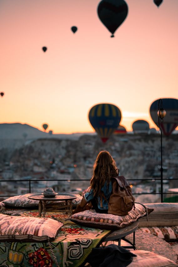 woman with hot air balloons