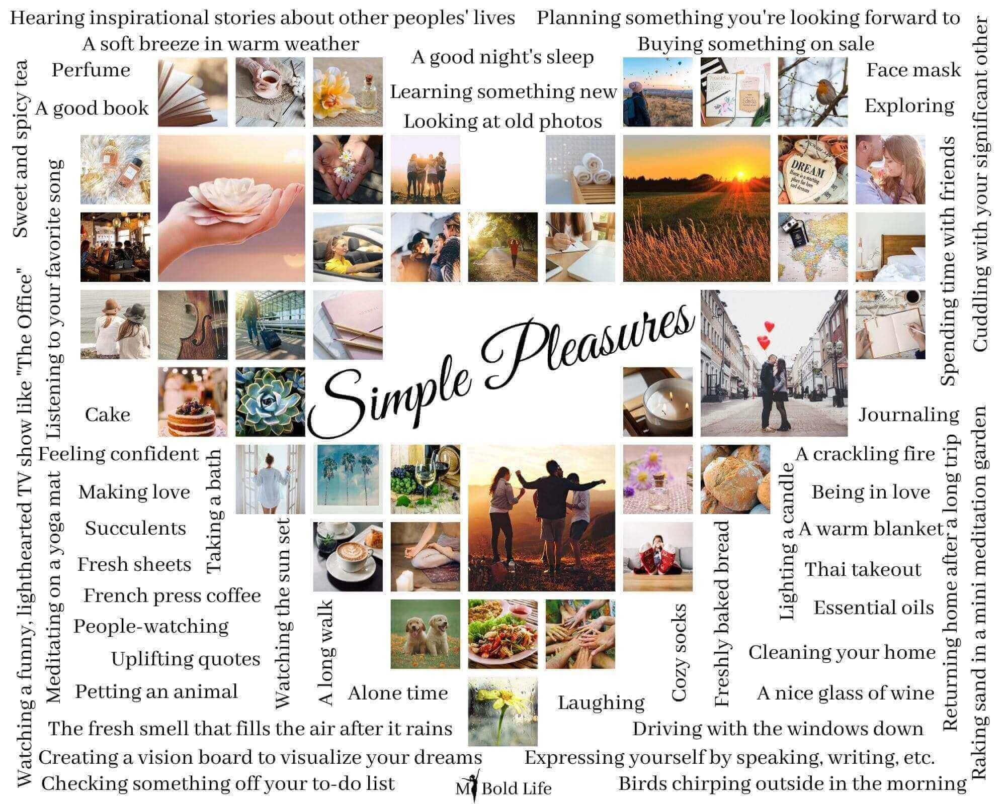 collage of simple pleasures