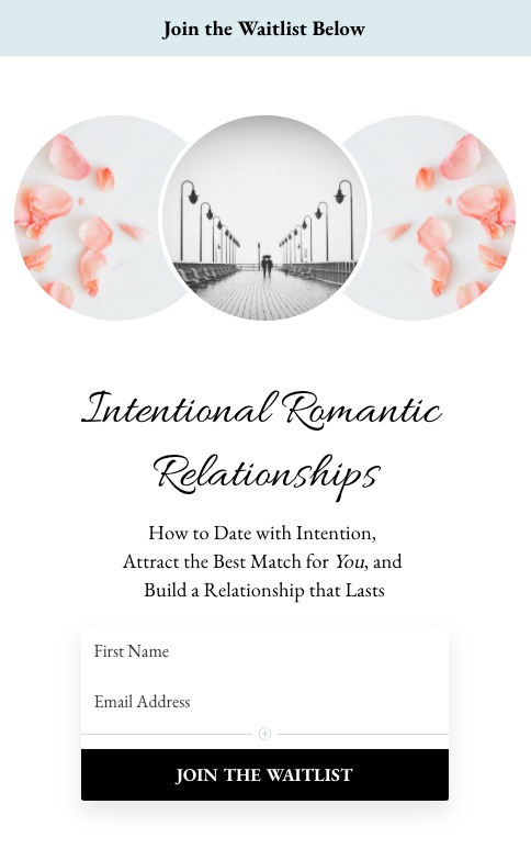 Intentional Romantic Relationships online course signup page